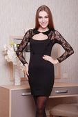 Beautiful woman in fashionable stylish clothes — Stock Photo