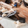 Jointing plane on workbench - Stock Photo