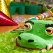 Kids birthday cake and decorations — Stock Photo
