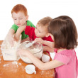 Preschooler kids making mess in kitchen — Stock Photo