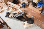 Jointing plane on workbench — Stock Photo