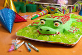 Kids birthday cake at party — Stock Photo