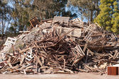 Pile of raw timber to recycle — Stock Photo