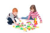 Kids playing with blocks — Stock Photo