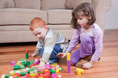 Kids playing with blocks — Stock Photo