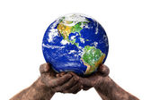 Holding the world with dirty hands — Stock Photo