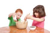Kids while baking — Stock Photo