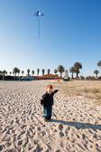 Boy flying kite on beach — Stock Photo