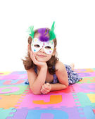 Girl in dressup mask — Stock Photo