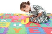 Escuela infantil puzzle carta alfabeto acabado uniforme — Foto de Stock