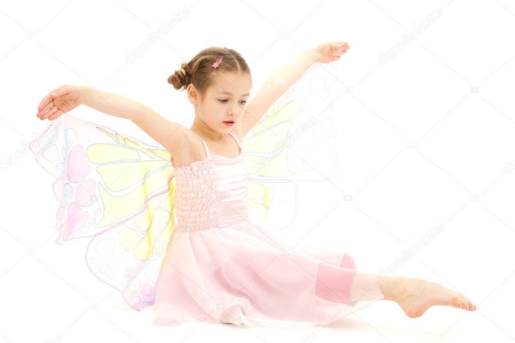 m dchen gekleidet in schmetterling ballerina kost m. Black Bedroom Furniture Sets. Home Design Ideas