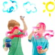 Kids painting art on glass — Stock Photo
