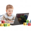 Boy child learning education on computer notebook — Stock Photo