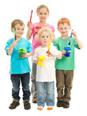 Group of children with kids paint brushes — Stock Photo