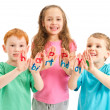 Kids happy birthday painted letters on hands — Stock Photo