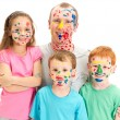Royalty-Free Stock Photo: Family of kids and dad with messy painted faces