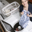 Fun at the Laundromat — Stock Photo