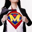 Super Mom Opens Shirt to Reveal Chest Plate Crest Superhero Status — Stock Photo #12411768