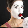 Mime with Lolipop — Stock Photo