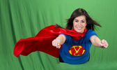 Super Mother on Green Screen — Stock Photo