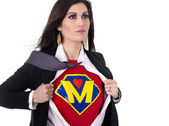 Super Mom Opens Shirt to Reveal Chest Plate Crest Superhero Status — Stock fotografie