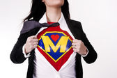 Super Mom Opens Shirt to Reveal Chest Plate Crest Superhero Status — Stock Photo