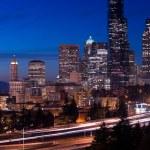 Seattle WA Skyline Vertical Composition Freeway Highway Vehicle Transport — Stock Photo