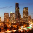 Cars and Vehicle Traffic Tavel Along Interstate 5 Through Downtown Seattle — Stock Photo