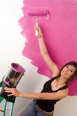 Beautiful Homemaker Female Do it Yourself Project Painting Walls Pink — Stock Photo