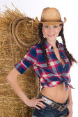 Portrain of a Beautigful Girl Next Door Country Cowgirl Female — Stock Photo