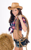 Sexy Country Girl Carrying Gear Western Theme Hay Bale — Stock Photo