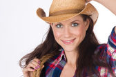 Country Time Smile Female Adjusts Cowboy Hat Holding Woven Rope and Gear — Stock Photo