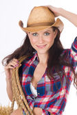 Country Woman Cowgirl Adjusts Hat Holds Rope Smiling — Stock Photo