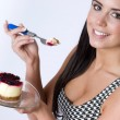 Woman eats Cheescake — Stock Photo