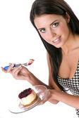 Woman eats Cheescake — Stock Photo