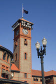 Union Station Portland Clock Tower Downtown Commuter Train Station — Stok fotoğraf