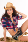 Attractive Cowgirl Female Decides to Adjust Hair Western Cowboy Hat — Stock Photo