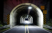 Highway Tunnel Two Lane Blacktop Lonely Road Oregon Midnight — Stock Photo