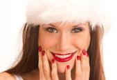 Christmas Look Manicured Woman Smiles With Hands on Face — Stock Photo