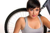 Bike Rider Young Attractive Woman Sitting Next To Mountain Bike — Stock Photo