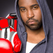 Boxer Portrait Male African American Hoodie Red Boxing Gloves — Foto de Stock