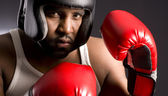 Tough Guy Male Boxer in Spar Stance Red Boxing Gloves — Stock Photo