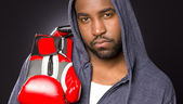 Boxer Portrait Male African American Hoodie Red Boxing Gloves — Stock Photo