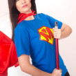 Everyday Housewife Mom Sweeps Broom Resembling Super Hero — Stock Photo
