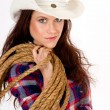 Beautiful Hero Cowgirl Carrying Her Rope and Gear Country Cowboy Hat — Stock Photo #15704295