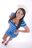 Young Attractive Brunette Woman Wears Sailor Themed Outfit — Stock Photo