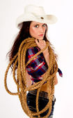 Pretty Cowgirl Looking Over Shoulder Rope and Gear Country Cowboy Hat — Stock Photo