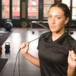 Boot Camp Woman Smiling While Doing Rope Work in Gym — Stock Photo
