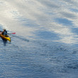 People in Kayaks River Kayaking Smooth River Reflection — Stock Photo