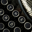 The End Spelled Out Vintage Typewriter Keyboard — Stock Photo